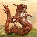 'Legendary Dragon' Wood Sculpture (Indonesia)