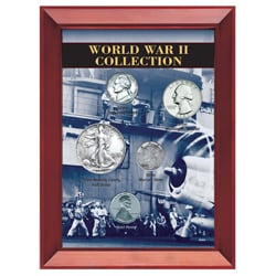 American Coin Treasures World War II Coin Collection in Wood Frame