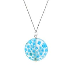 Glitzy Rocks Silver Light Blue Venetian Glass Necklace