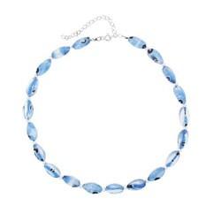 Glitzy Rocks Silver Blue Foil Glass Nugget-shaped Necklace
