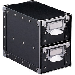 Modern Style with Silver on Black Polypro Two-drawer Storage Bin