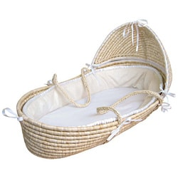 Natural Moses Basket with Ecru Waffle Bedding
