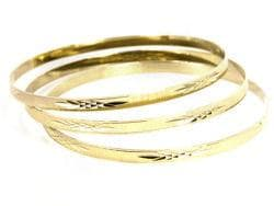 14k Goldfill Diamond Cut Bangle Bracelet Set (Mexico)