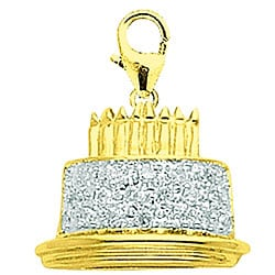 14k Yellow Gold Diamond Birthday Cake Charm