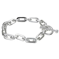 Sterling Essentials Sterling Silver 7.5-inch Oval Link Charm Bracelet