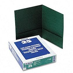 Linen Hunter-Green Twin-Pocket Portfolios (25 per Box)