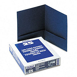 Linen Navy Twin-Pocket Portfolios (25 per Box)