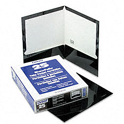 Laminated 100-Sheet Black Two-Pocket Portfolios (25 per Box)