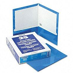 Laminated 100-Sheet Blue Two-Pocket Portfolios (25 per Box)