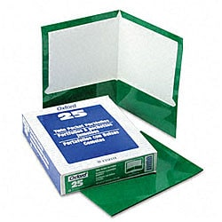 Laminated 100-Sheet Green Two-Pocket Portfolios (25 per Box)