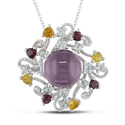 Sterling Silver Multi-gemstone Necklace