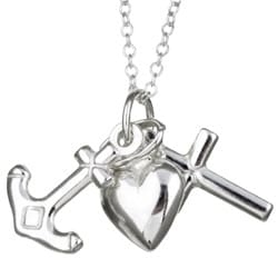 Sterling Essentials Sterling Silver Faith, Hope and Charity Necklace