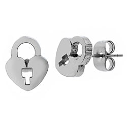 Surgical Steel Heart Lock Earrings