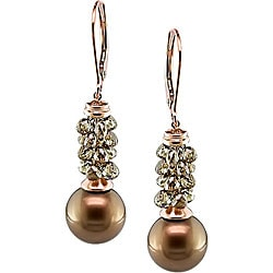 14k Gold Pearl 5 3/4ct TDW Brown Diamond Earrings (10-11mm)