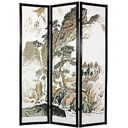 Wood and Rice Paper Landscape Shoji Screen (China)