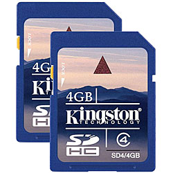 Kingston 4GB Secure Digital High Capacity Class 4 Card (Pack of 2)