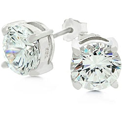 Kate Bissett White Gold Bonded Sterling Silver Stud CZ Earrings