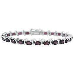 Glitzy Rocks Sterling Silver Garnet Link Bracelet 4128805