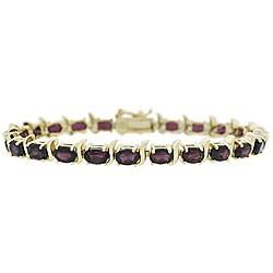 Glitzy Rocks 18k Gold over Sterling Silver Garnet Link Bracelet 4128825