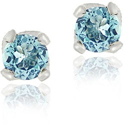 Glitzy Rocks Sterling Silver Blue Topaz and CZ Stud Earrings