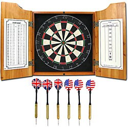 All American Solid Pine Dart Board and Cabinet