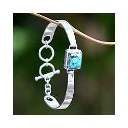 Sterling Silver Turquoise 'Soul Mirror' Bracelet (Indonesia)