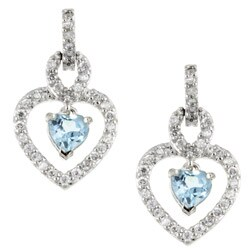 Glitzy Rocks Sterling Silver Blue Topaz and CZ Heart Earrings