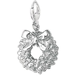 Sterling Silver Festive Wreath Charm