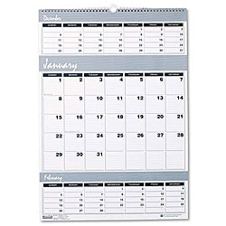 Three-months-per-page Wirebound Wall Calendar