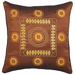 Decorative Gold Stitch Design Brown Cushion Cover