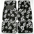 Front and Rear Black Hawaiian Print Floor Mats