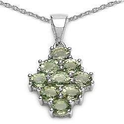 Malaika Sterling Silver Green Sapphire Cluster Necklace