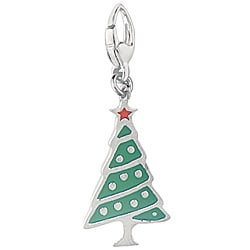 Sterling Silver and Enamel Christmas Tree Charm