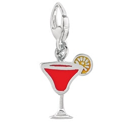 Sterling Silver and Enamel Strawberry Daiquiri Charm