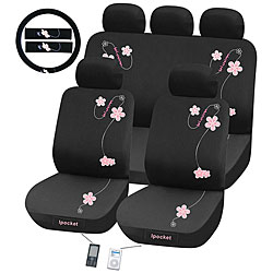 Flowers 12-piece Automotive Seat Cover Set