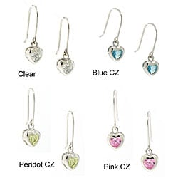 Sterling Silver Cubic Zirconia Heart Earrings