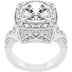 Kate Bissett White Gold Rhodium Bonded CZ Bright Lights Cocktail Ring