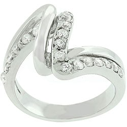Kate Bissett White Gold-bonded CZ Lace Ring