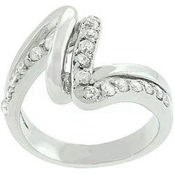 Kate Bissett White Gold-bonded CZ Lace Ring