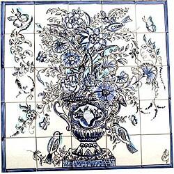 Mosaic 'Cobalt Blue Birds' 25-tile Mural
