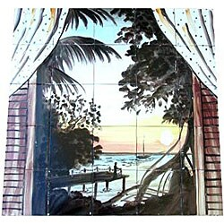 Mosaic Sunset Ocean Balcony View 25-tile Mural