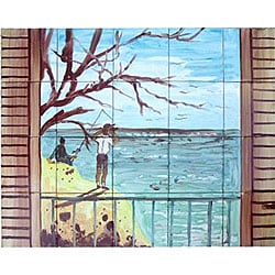Fishing Scene Mosaic 20-tile Wall Mural