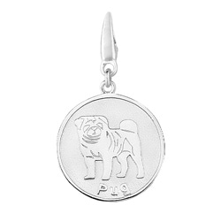 Sterling Silver Pug Round Disc Charm