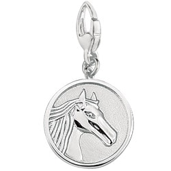 Sterling Silver 'Horse Head' Round Disc Charm