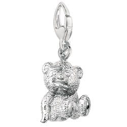 Sterling Silver 3D Teddy Bear Charm