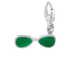 Sterling Silver Green Enamel Sun Glasses Charm
