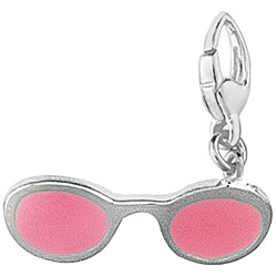 Sterling Silver Ladies Pink Enamel Sunglasses Charm