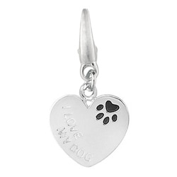Sterling Silver 'I Love My Dog' Charm