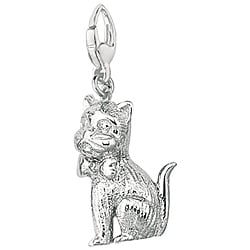 Sterling Silver Whimsical Kitten Charm