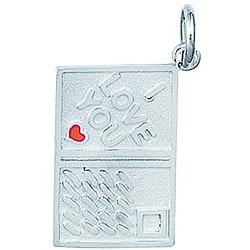 Sterling Silver Enamel I Love You Postcard Charm